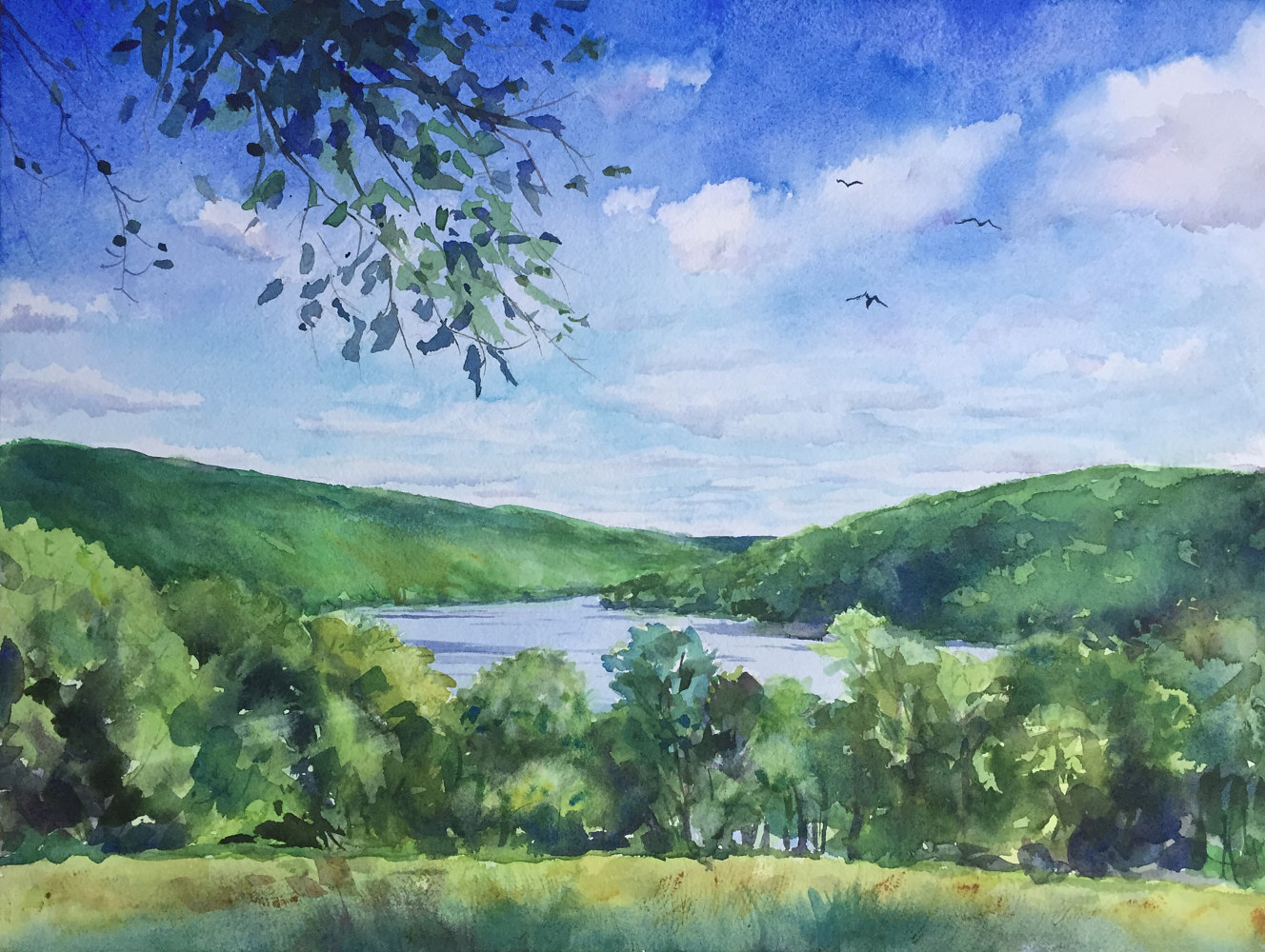 Watercolor Squantz Pond, New Fairfield, CT. Dreaming of Summer by Elizabeth4361 Medeiros