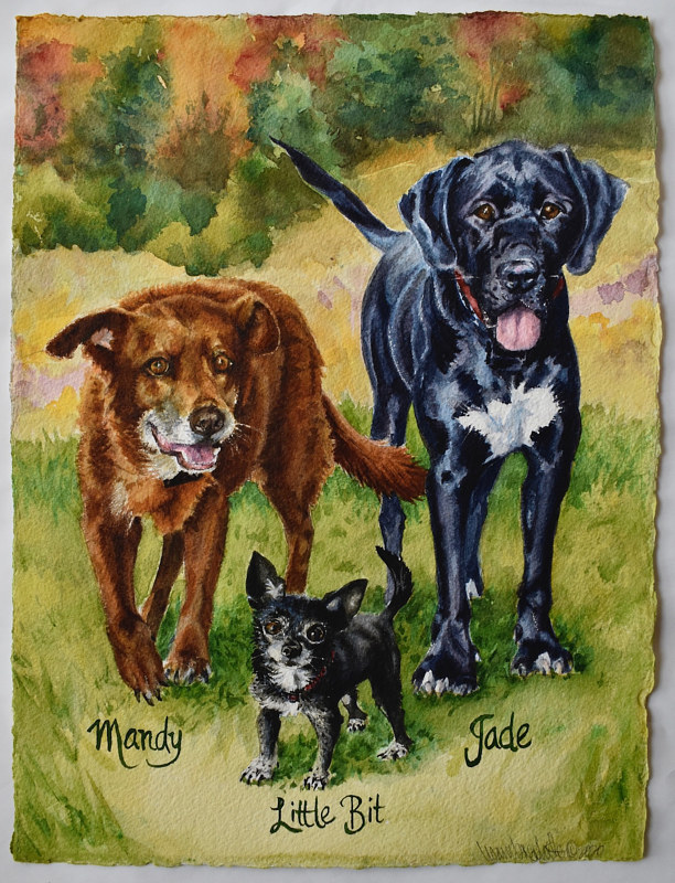 Watercolor Mandy, Jade & Little Bit by Lisa  Baechtle