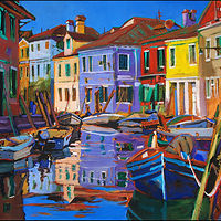 Oil painting Colori di Burano by Angelo Mariano