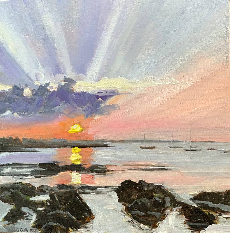 Oil painting Maine sunset  by Ginger Arthur
