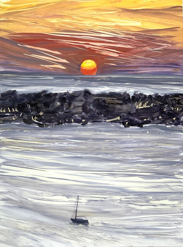 Oil painting Big Red Sun Coming Up  by Ginger Arthur