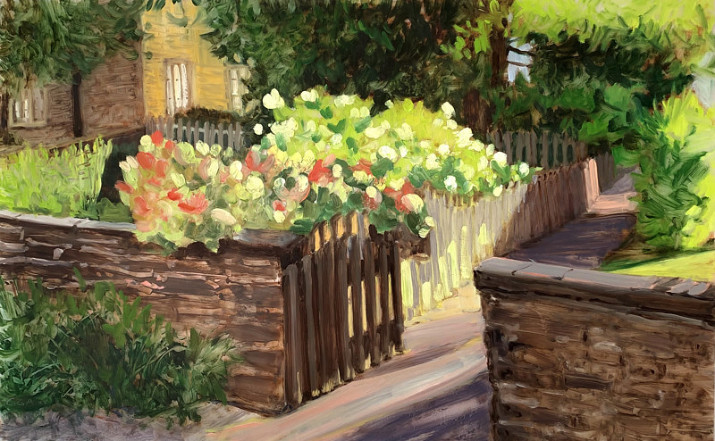 Oil painting Winston Court Hydrangea  by Ginger Arthur