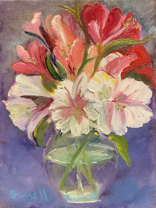 Oil painting Astromelia Bouquet by Jeanne Urban by Passionate Painters