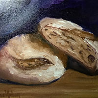 Oil painting Mmm Rye Bread by Jeanne Urban by Passionate Painters