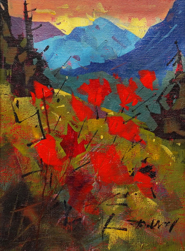 Mountain Floral Acrylic 12x16 2021  v by Brian  Buckrell