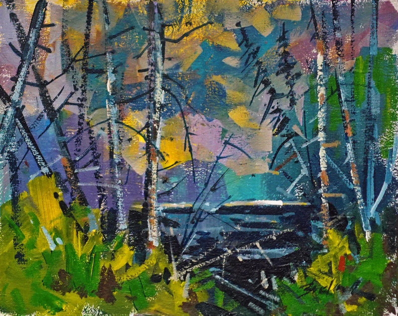 Black Water Pond Acrylic 11x14 2021 by Brian  Buckrell