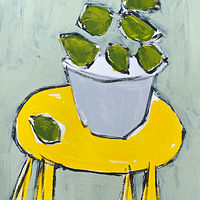 Acrylic painting Limes on Yellow Table, II by Sarah Trundle