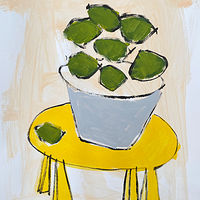 Acrylic painting Limes on Yellow Table, I by Sarah Trundle