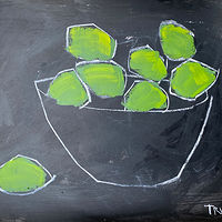 Acrylic painting Limes on Black by Sarah Trundle