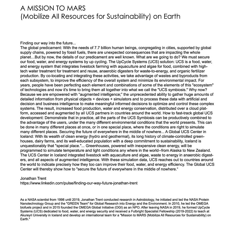 Drawing A Mission to MARS (Mobilize All Resources for Sustainability) on Earth by Amarie Bergman