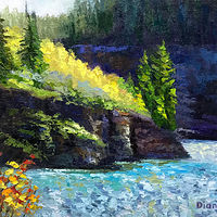 Oil painting Sunshine on the River Bank by Diana Harris by Passionate Painters