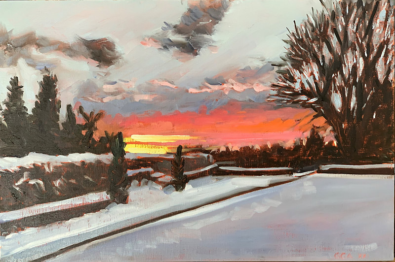 Oil painting Chanticleer Winter Sunset by Ginger Arthur