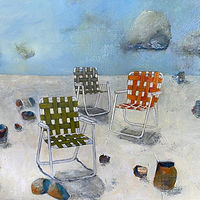"Oil painting ""Anticipation At Salton Sea"", Available For Purchase at Fogue Gallery by carol Ross"