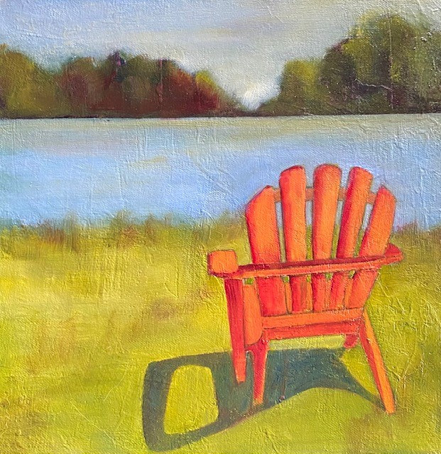 "Oil painting ""Favorite Orange Chair"", Available For Purchase at Fogue Gallery by carol Ross"