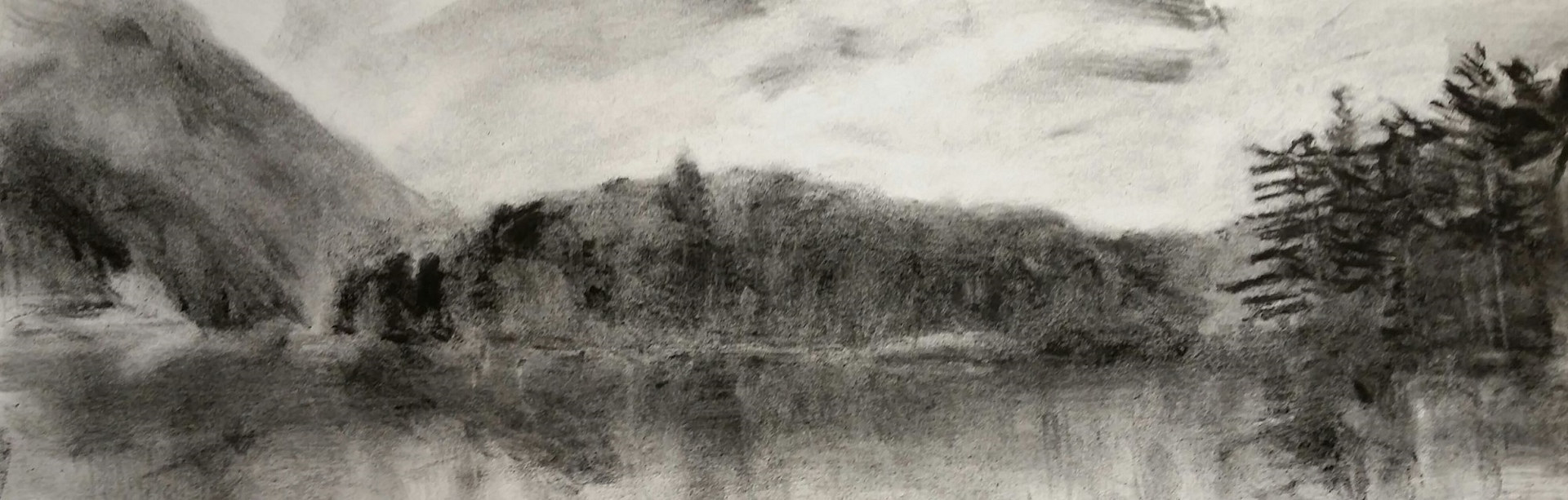 chapel pond charcoal  image 7x 24in   framed 15 1/4x 37in    by Michael Gaudreau