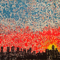 Acrylic painting LA.cityscape.sunrise.48x60 copy by Jeffrey Newman