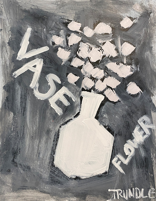 Acrylic painting Its A Vase of Flowers by Sarah Trundle
