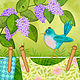 Bird on Clothesline with Lilacs by Valerie Lesiak