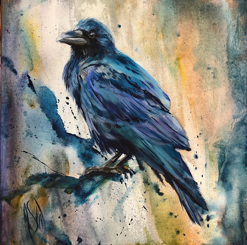 Acrylic painting Blue Raven 2 by Passionate Painters