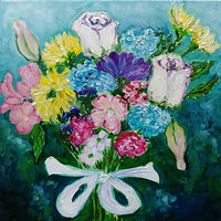 Oil painting Floral thanks for David by Michelle Marcotte
