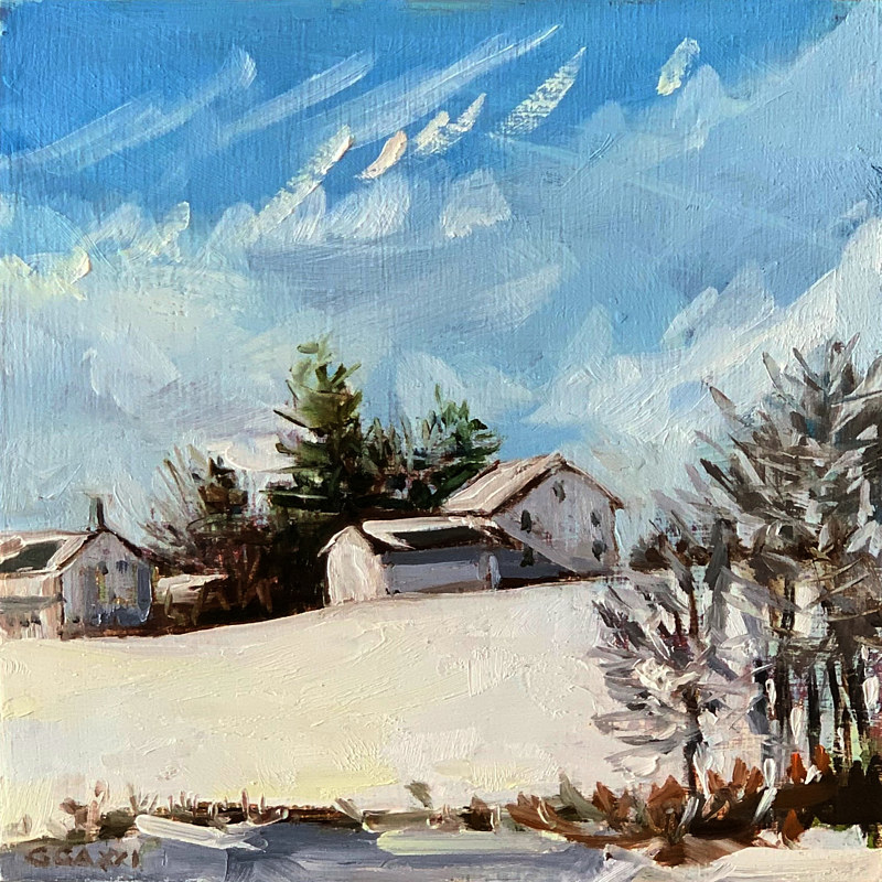 Snowy Sunny Landscape  by Ginger Arthur