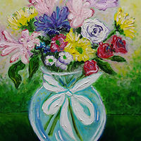 Oil painting Floral thanks for Joan by Michelle Marcotte
