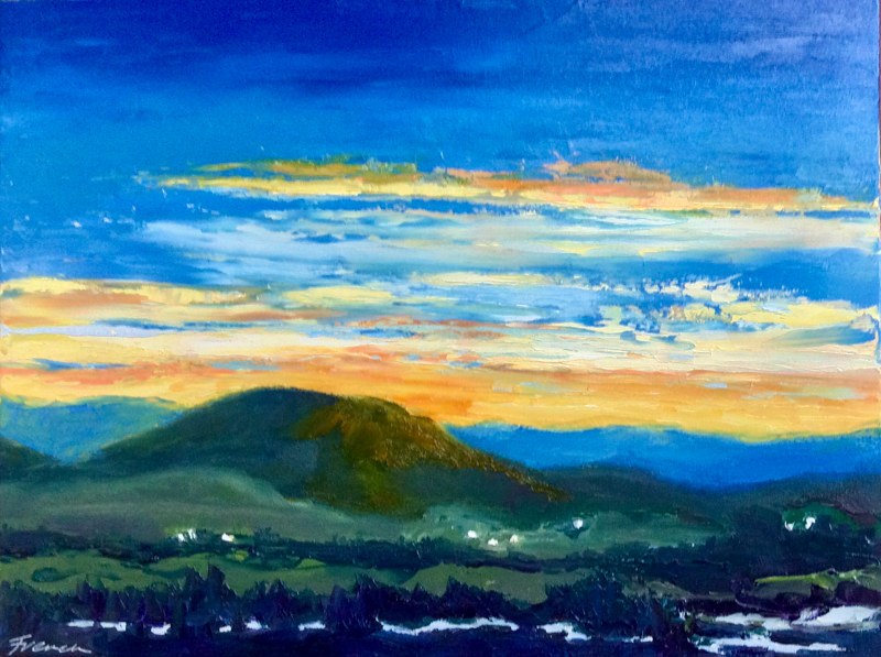 "Oil painting ""Mountain Valley Sunset"" by Anne French"