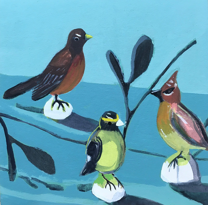 Acrylic painting Untitled birds by Kate Scoones