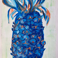 Watercolor Pineapple Blue by Jasmine Calix