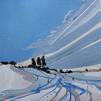 Acrylic painting Sled Track  by Harry Stooshinoff
