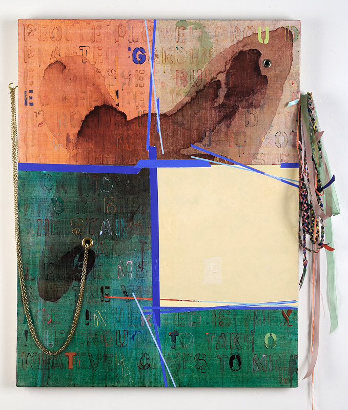 "Once Was, Now Gone, 34"" x 26"" + extensions, acrylic on linen, brass grommet, hook, chains, plaited ribbons, 2019 by Judy Southerland"