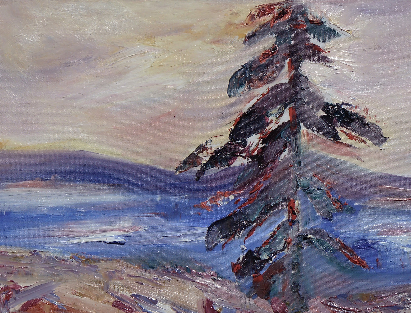 Oil painting RESILIENCE  Red Pine by Laurie Cochrane