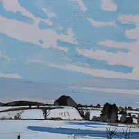 Acrylic painting Snow Fields, March 5  by Harry Stooshinoff