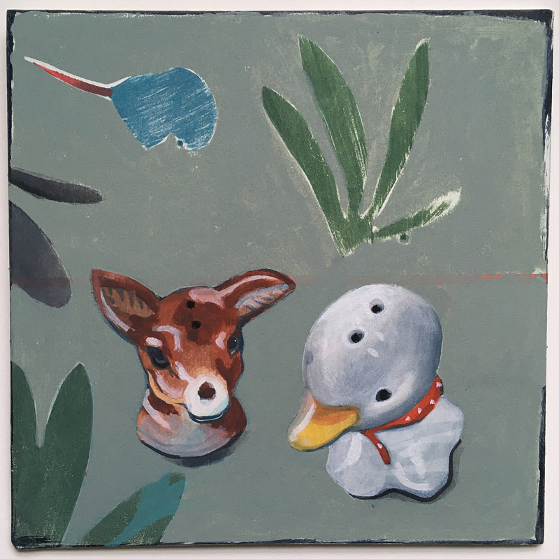Acrylic painting Pepper Deer and Salt Duck by Kate Scoones