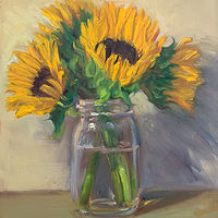 """Sunflowers in a Jar""  by Noah Verrier"