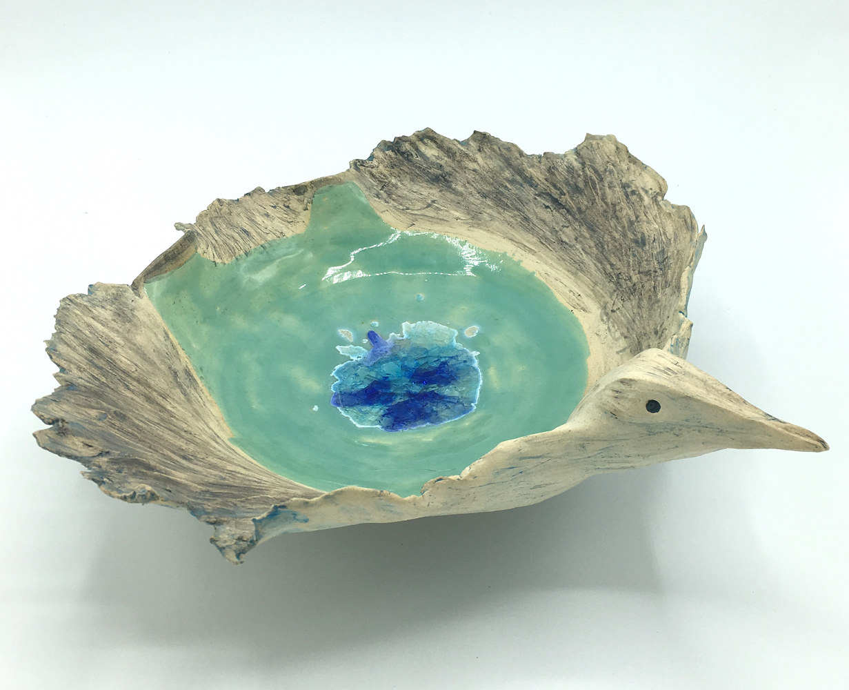Bird Bowl with glass by Sharon V Smith