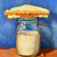 """PBJ & Jar of Milk (Strawberry/Blue)"" by Noah Verrier"