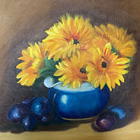 Oil painting Blue Jug Still Life by Jeanne Urban by Passionate Painters