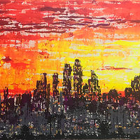 Acrylic painting city.of.light by Jeffrey Newman