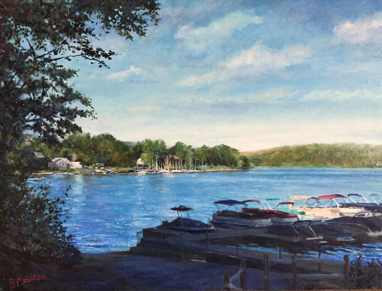 Print New Fairfield Town Marina Print by Elizabeth4361 Medeiros