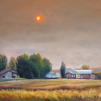 "Oil painting ""Smokey Sunset in Rosebud"" by RE Swirsky by Passionate Painters"