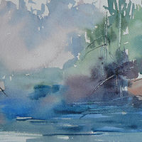 Painting Misty Morning by Laurie Cochrane