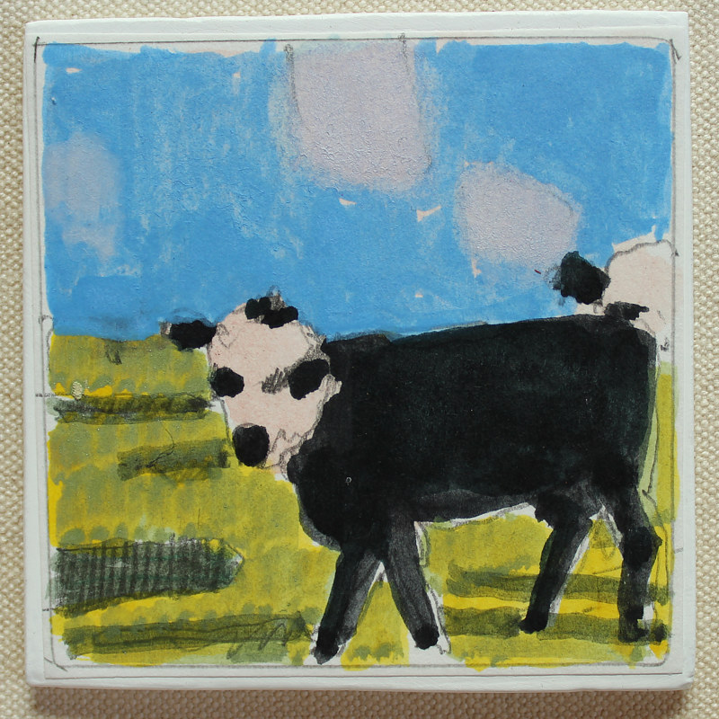 Painting White Faced Calf by Harry Stooshinoff
