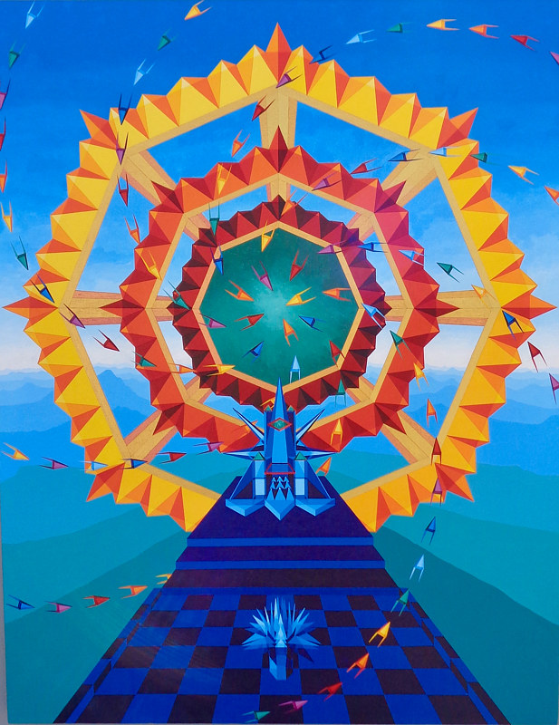 "Acrylic painting ""The Throne of the Enlightened One, and the Portal of Empowerment"" by Jon Harris"