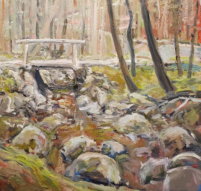 the bridge in the Forest 112x12n oil  by Michael Gaudreau
