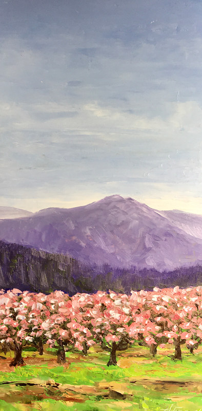"Oil painting ""Mountain Peach Orchard"" by Anne French"