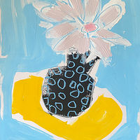 Acrylic painting Blue Vase with Polka Dots by Sarah Trundle