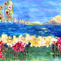 Acrylic painting Seaside by Deborah J Gorman