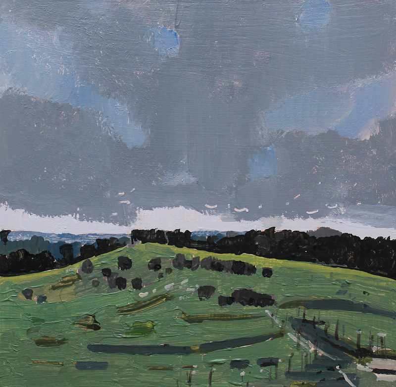 Acrylic painting Rain Day Pasture by Harry Stooshinoff