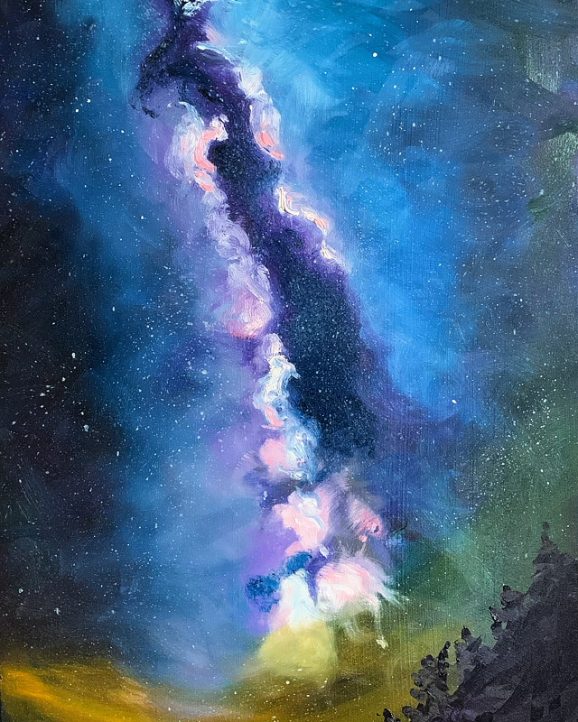 Oil painting Milky Way by artist Jeanne Urban by Passionate Painters